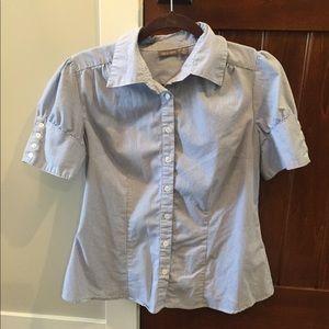 Apt 9 blouse pinstripe blue and white